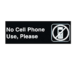 "Winco SGN-334 No Cell Phone Use Sign - 3X9"" Black"