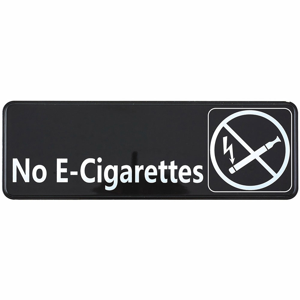 "Winco SGN-335 No E-Cigarettes Sign - 3"" x 9"", White on Black"