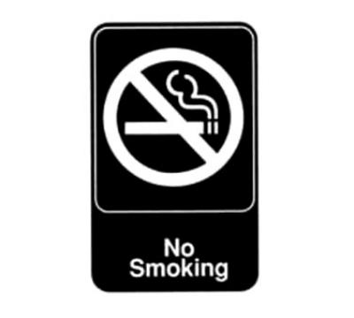 Winco SGN-601 6 in x 9 in Sign - No Smoking - White Imprint on Black