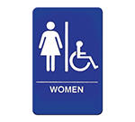 "Winco SGN-651B Women/Accessible Sign - 6X9"", Blue"