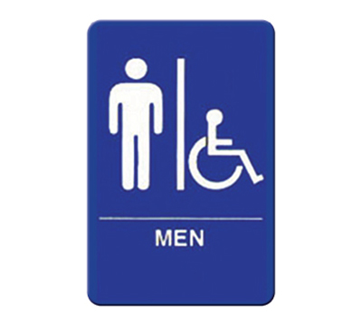 "Winco SGN-652B Men/Accessible Sign - 6x9"", Blue"