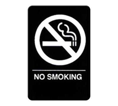 "Winco SGNB-601 No Smoking Sign, Braille - 6x9"", Black"