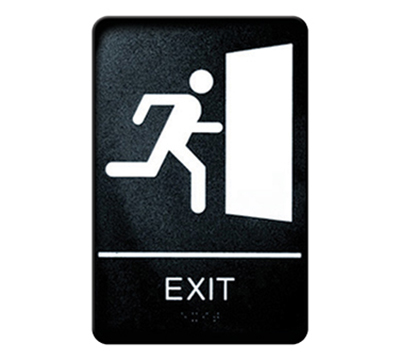 "Winco SGNB-604 Exit Sign, Braille - 6x9"", Black"