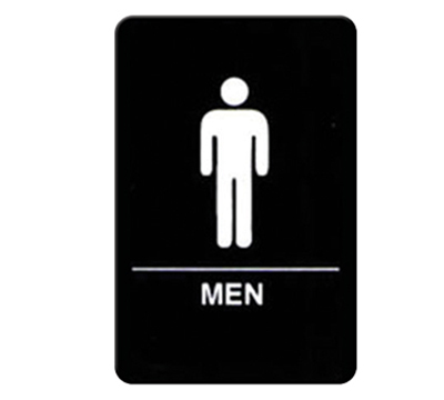 "Winco SGNB-605 Men Sign, Braille - 6x9"", Black"