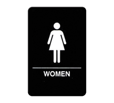 "Winco SGNB-606 Women Sign, Braille - 6x9"", Black"