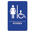 "Winco SGNB-651B Women/Accessible Sign, Braille - 6x9"", Blue"