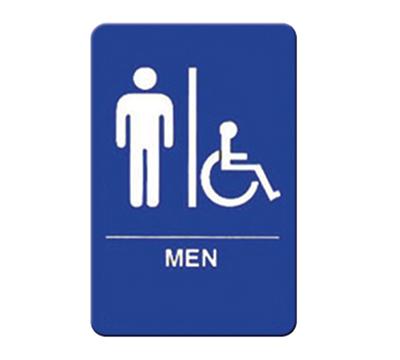 "Winco SGNB-652B Men/Accessible Sign, Braille - 6x9"", Blue"
