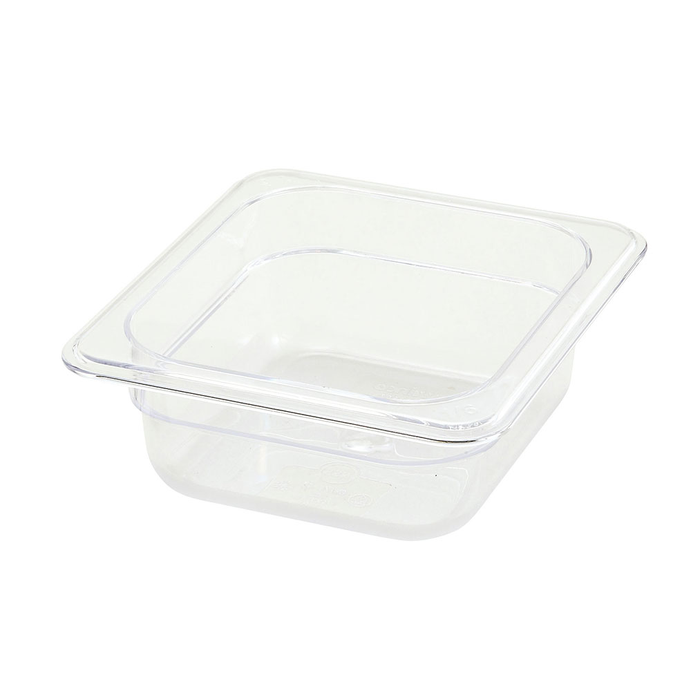 "Winco SP7602 1/6-Size Food Pan, 2.5"" Deep, Break Resistant Polycarbonate"