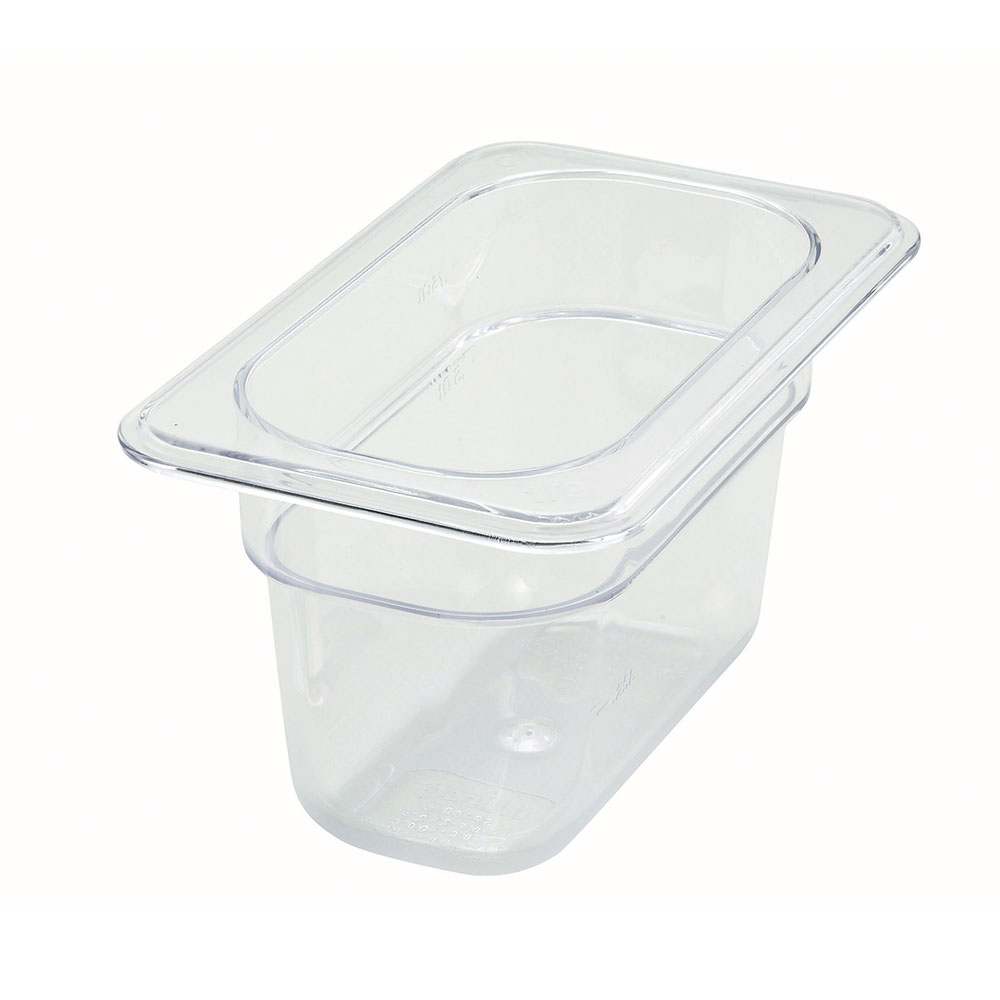 "Winco SP7904 Poly-Ware Food Pan, 1/9 Size, 4""Deep, Polycarbonate, NSF"