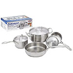 "Winco SPC-7H 7-Piece Cookware Set: 1 & 2-qt Sauce Pans, 4.5-qt Dutch Oven & 10"" Saute Pan"