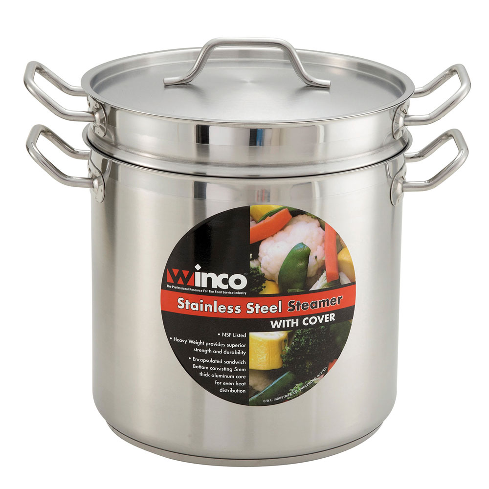 """Winco SSDB-20 11.8"""" Stainless Steel Double Boiler w/ 20-qt Capacity"""