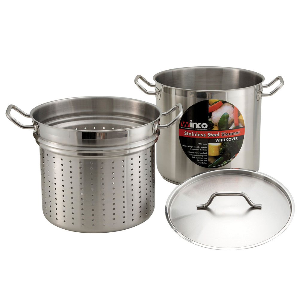 Winco SSDB-20S 20-qt Master Cook Steamer Pasta Cooker w/ Cover & Aluminum Core, Stainless
