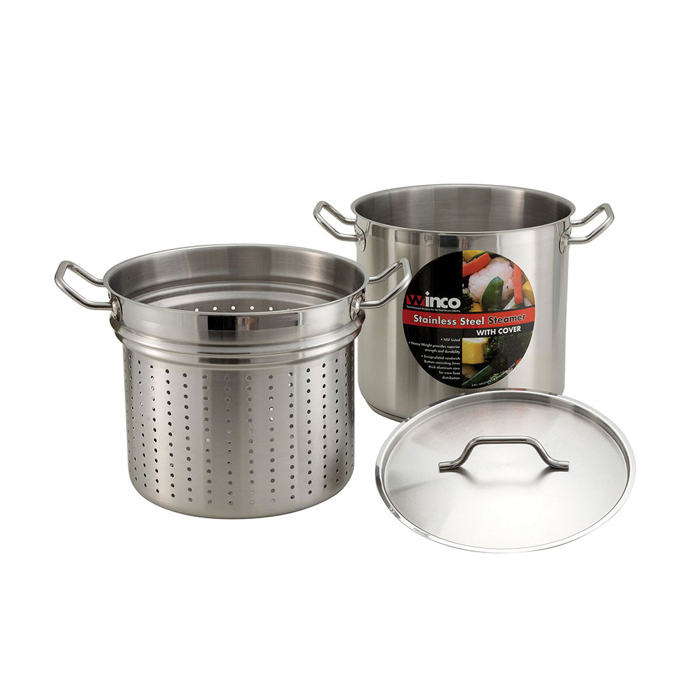 Winco SSDB-8S 8-qt Master Cook Steamer Pasta Cooker w/ Cover, Stainless