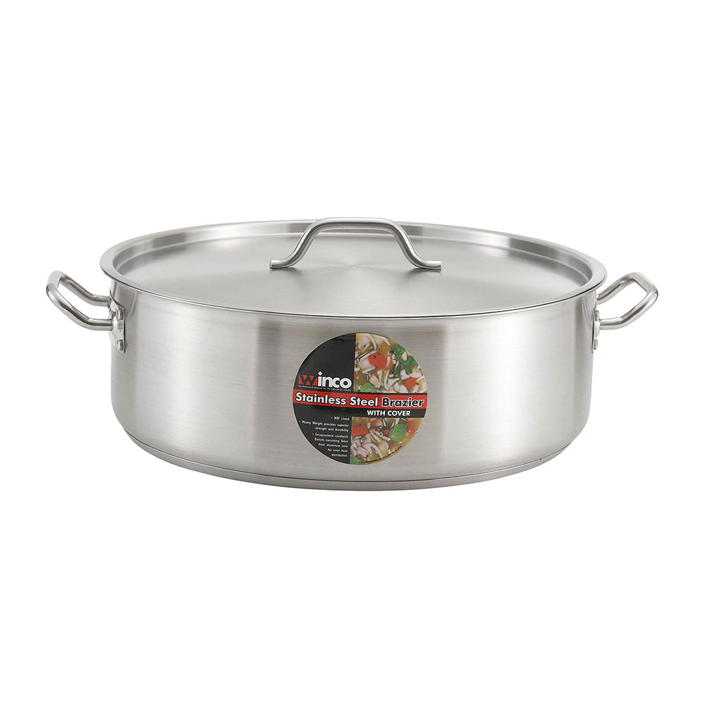 Winco SSLB-30 30-qt Stainless Steel Braising Pot