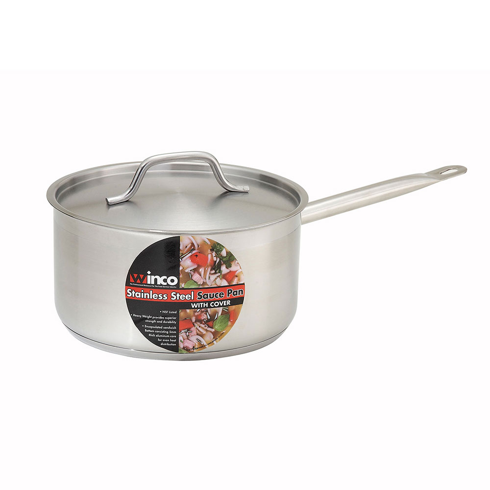 Winco SSSP-6 6-qt Stainless Steel Saucepan w/ Hollow Meta...