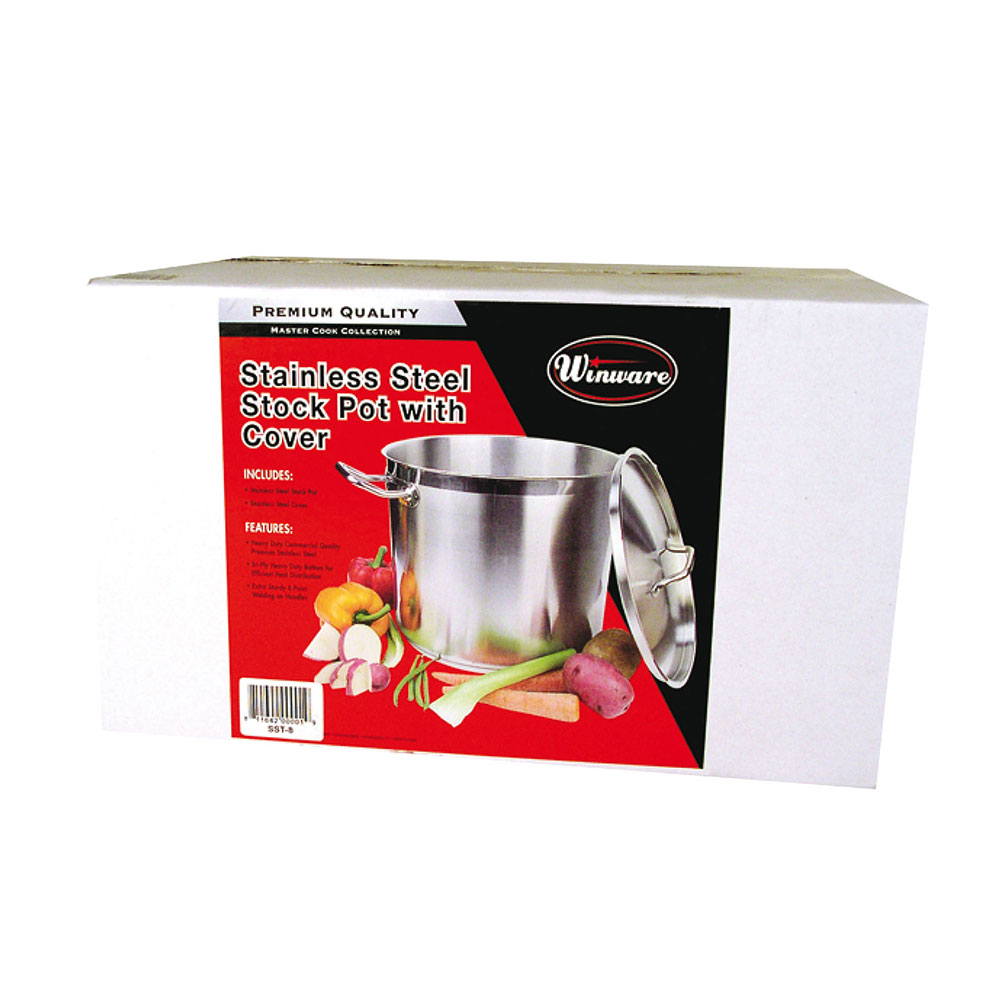 Winco SST-12 12-qt Stainless Steel Stock Pot - Induction Ready