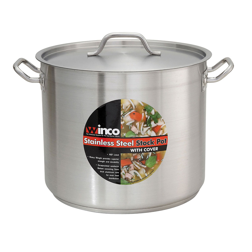 Winco SST-40 40-qt Stainless Steel Stock Pot - Induction Ready