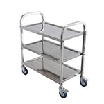 Winco SUC30 3-Level Stainless Utility Cart w/ Raised Ledges