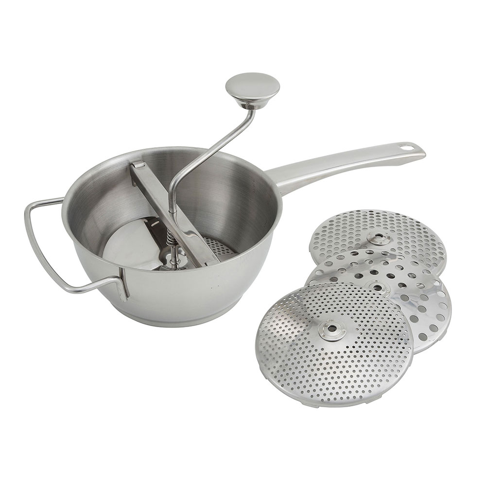 """Winco SVM8 8"""" Round Vegetable Mill w/ (4) Dishes, Stainless"""