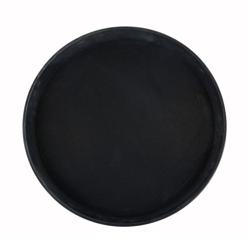"Winco TRH-14K Round Easy Hold Tray - 14"" x 18"", Black"