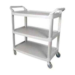 Winco UC-35G 3-Level Polymer Utility Cart w/ Raised Ledges
