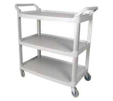 Winco UC-35G Utility Cart, 3 Shelves, 33-1/4 in x 17 in x 37-1/2 in H, Casters, Gray
