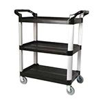 Winco UC-35K Utility Cart, 3 Shelves, 33-1/4 in x 17 in x 37-1/2 in H, Casters, Black