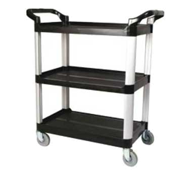 Winco UC-35K 3-Level Polymer Utility Cart w/ Raised Ledges