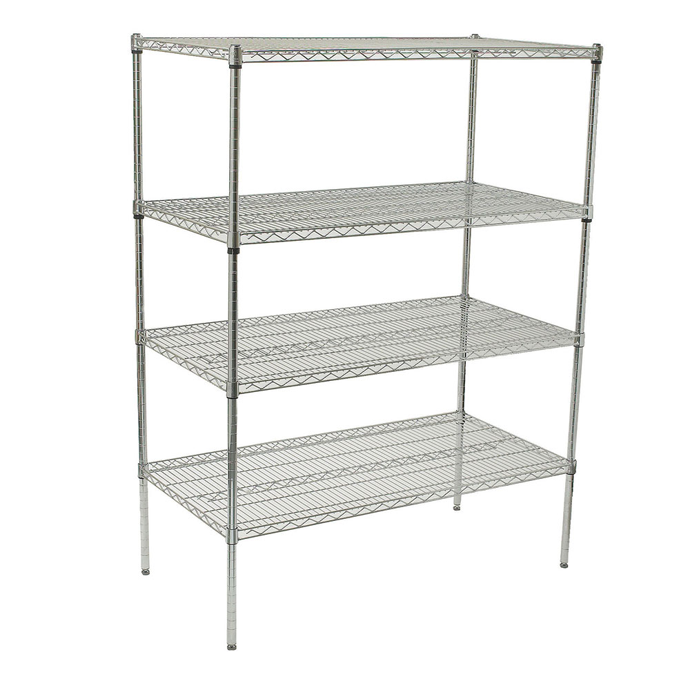Winco VCS-2448 Chrome Wire Shelving Unit w/ (4) Levels, 18x48x72""
