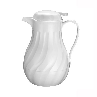 Winco VSW-42W Beverage Server, 42 oz, Insulated, Swirl Design, White