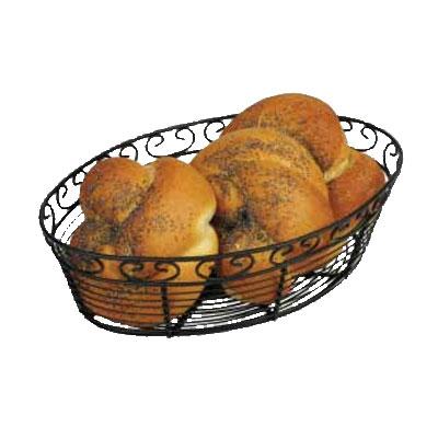 "Winco WBKG-10O Oval Bread/Fruit Basket, 10 x 6.5 x 3""H, Black Wire"