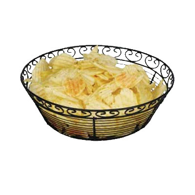 "Winco WBKG-10R Round Bread/Fruit Basket, 10 x 3""H, Black Wire"