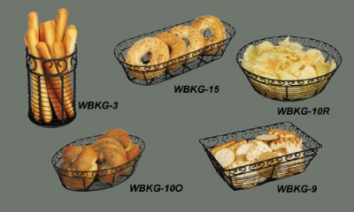 "Winco WBKG-15 Oblong Bread/Fruit Basket, 15 x 6.5"" X 3""H, Black Wire"