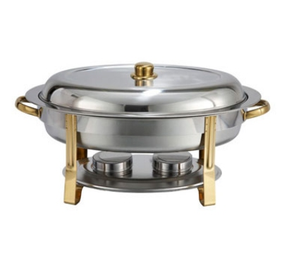 Winco 202 6-qt Oval Chafer w/ Gold Accents