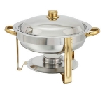 Winco 203 4-qt Round Chafer w/ Gold Accents