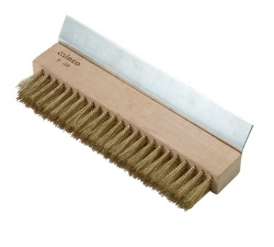 Winco BR-10 Pizza Oven Brush w/ Brass Bristles & Metal Scraper