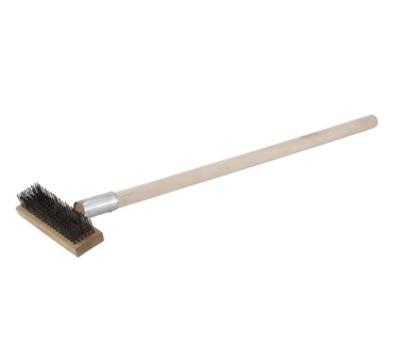 """Winco BR-27 27"""" Pizza Oven Brush w/ Wire Bristles & Scraper, Wood Handle"""