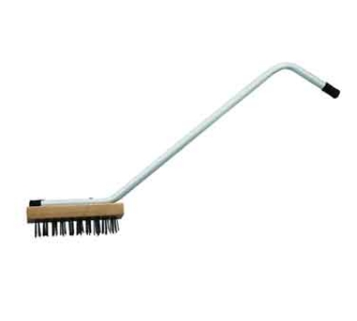 "Winco BR-31 31"" Commercial Broiler Brush w/ Steel Wire Bristles & Zinc-Plated Iron Handle"