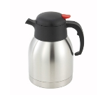 Winco CF-1.5 1.5-L Carafe w/ Black-Orange Push Button Top, Stainless