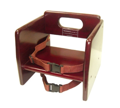 "Winco CHB-703 Stacking Booster Seat w/ Waist & Chair Straps, 11.75 x 12 x 10.5"", Mahogany"