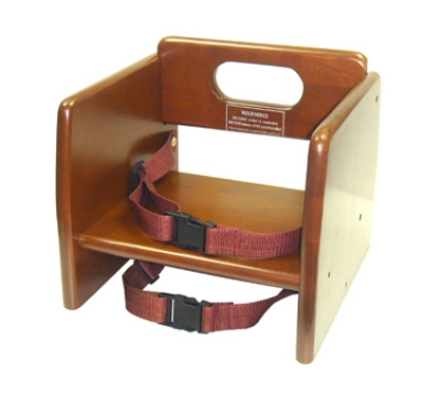 "Winco CHB-704 Stacking Booster Seat w/ Waist & Chair Straps, 11.75 x 12 x 10.5"", Walnut"
