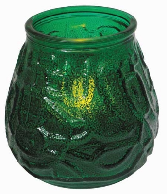 Winco CLG-3G Glass Candle Holder w/ Flameless Tealight & Battery, 3.74 x 3.86-in, Green