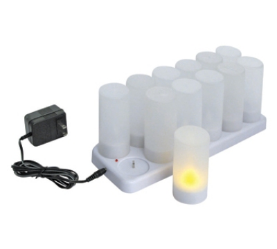 Winco CLR-12S Flameless Tealight Candle w/ Plastic Cup & Rechargeable Battery, Charging Tray