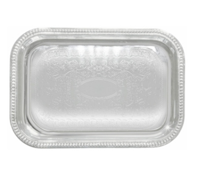Winco CMT-1812 Oblong Serving Tray, Chrome-Plated, Gadroon Edge w/ Engraving, 18 x 12.5""