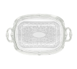Winco CMT-1912 Oblong Serving Tray, Chrome-Plated, Gadroon Edge w/ Engraving, 19.5 x 12.5""