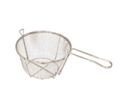 "Winco FBR-8 8.5"" Round Fryer Basket, Nickel Plated"