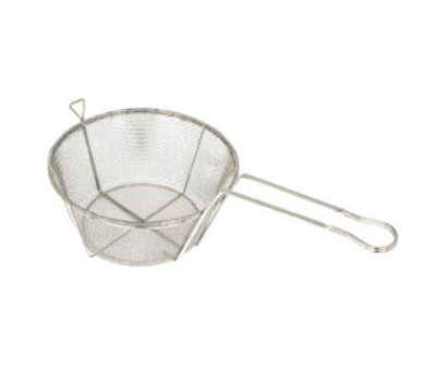 "Winco FBRS-11 10.5"" Round Fryer Basket, Nickel Plated"