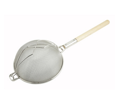 Winco MST-12D 12-in Round Strainer w/ Double Tinned Mesh, Reinforced Supporter, Wood Handle