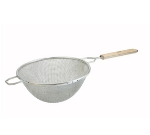 "Winco MSTF-10D 10.25"" Round Strainer w/ Double Tinned Mesh & Wood Handle, Fine"