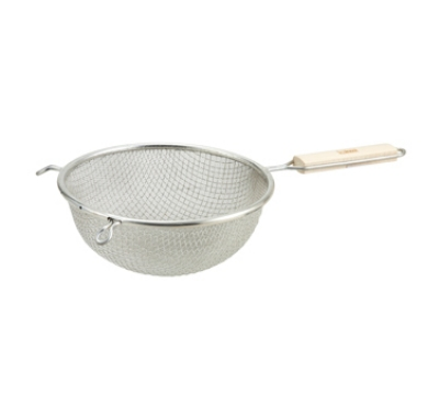 Winco MSTF-8D 8-in Round Strainer w/ Double Tinned Mesh & Wood Handle, Fine